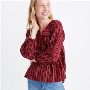 Madewell Swingy Peasant Top Red Metallic Stripe